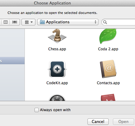 select Codekit as the app to open the file with