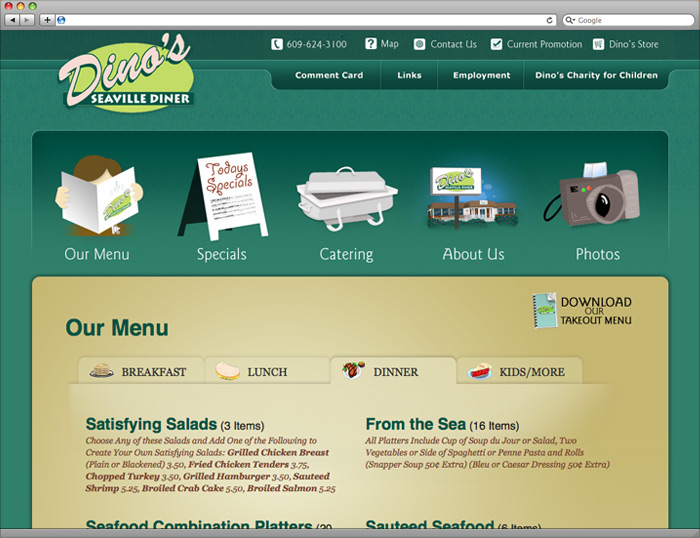 Menu page of the website.