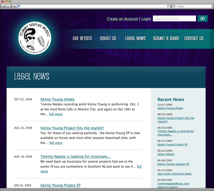 The main news page.