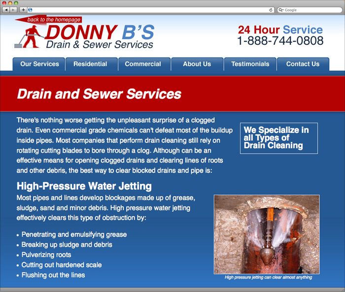 Donny B's Drain and Sewer Service Subpage Design.