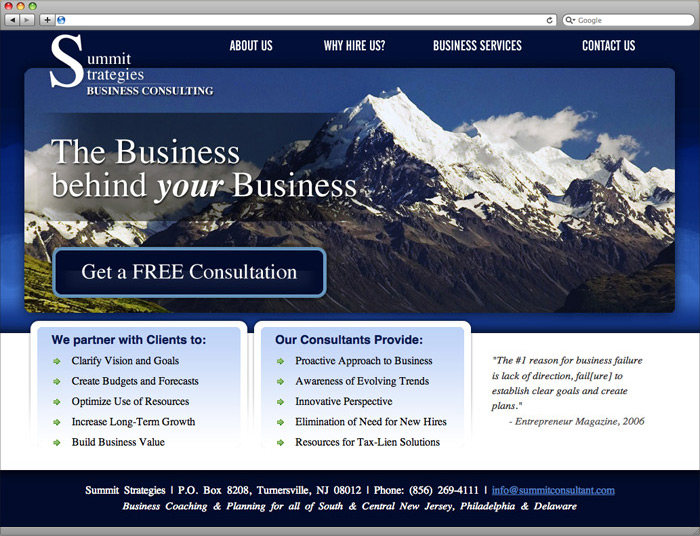 Summit Strategies website homepage design.