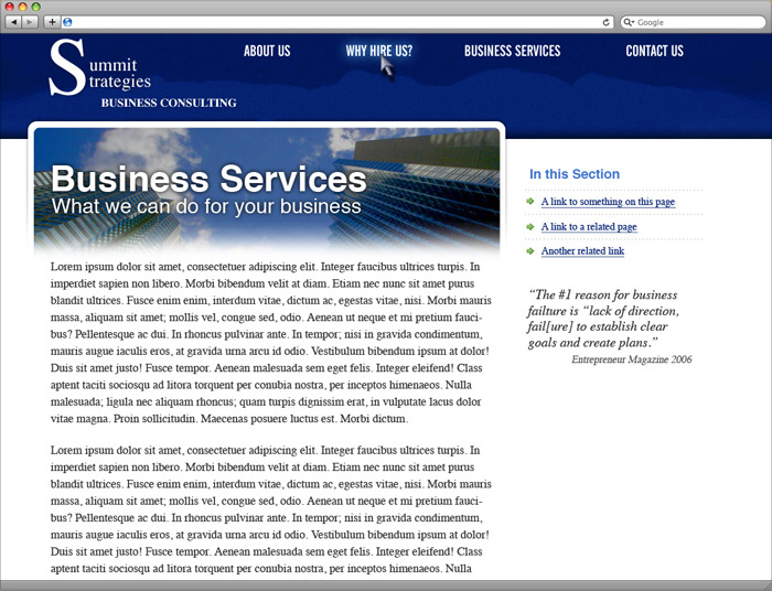 Summit Strategies website subpage design.