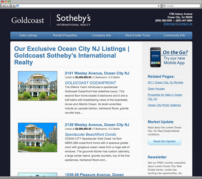 Goldcoast Sotheby's International Realty Sales Main Page