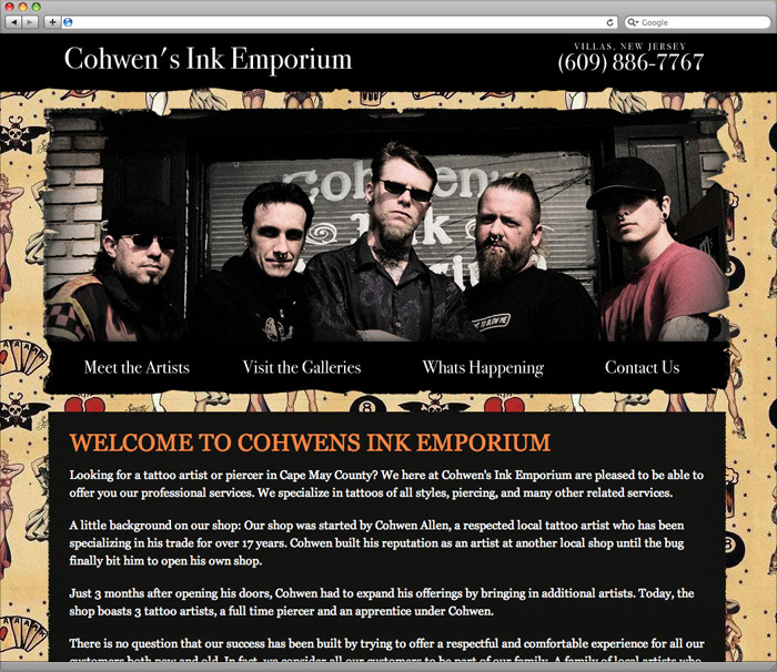 Cohwen's Ink Emporium website Homepage