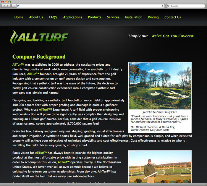 Allturf website about us page