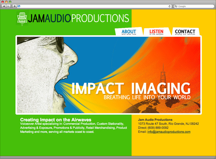Jam Audio Productions website homepage design.
