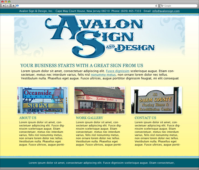Avalon Sign website homepage design.