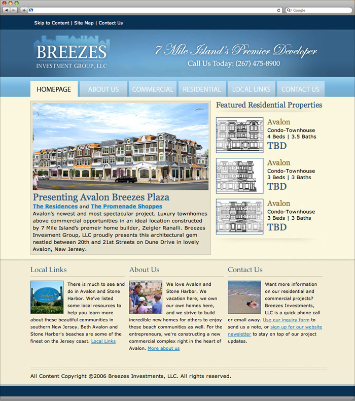Breezes Investments website homepage design.