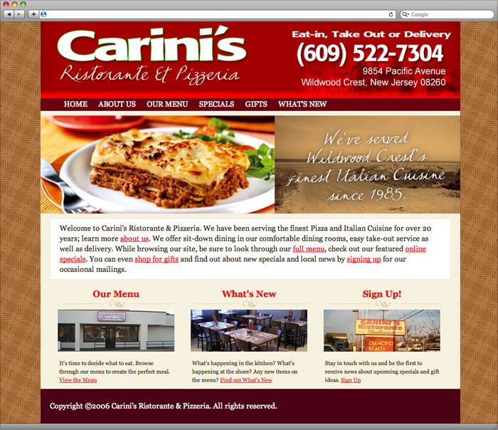 Carini's Ristorante website homepage design