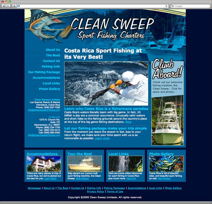 Clean Sweep Sportfishing website homepage design.