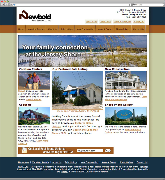 Newbold Real Estate website homepage design.