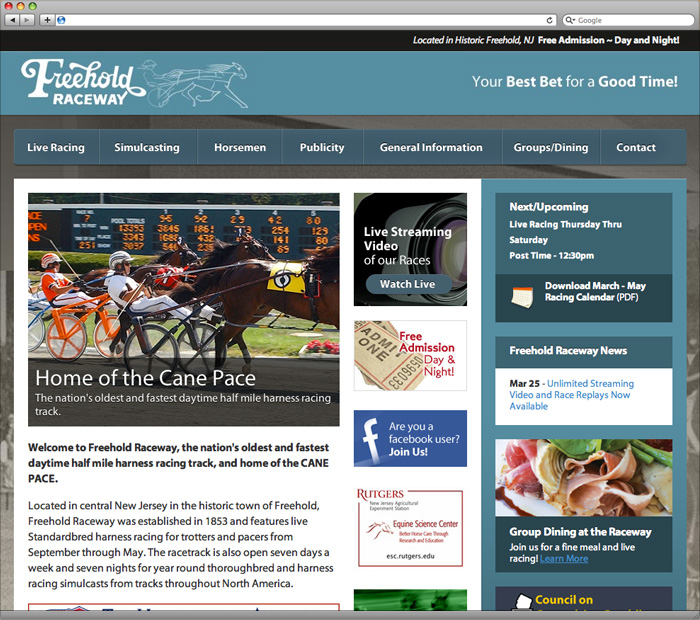 Freehold Raceway Homepage Design