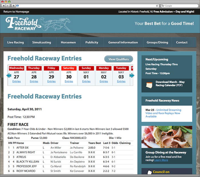 Freehold Raceway Live Entries Calendar Page
