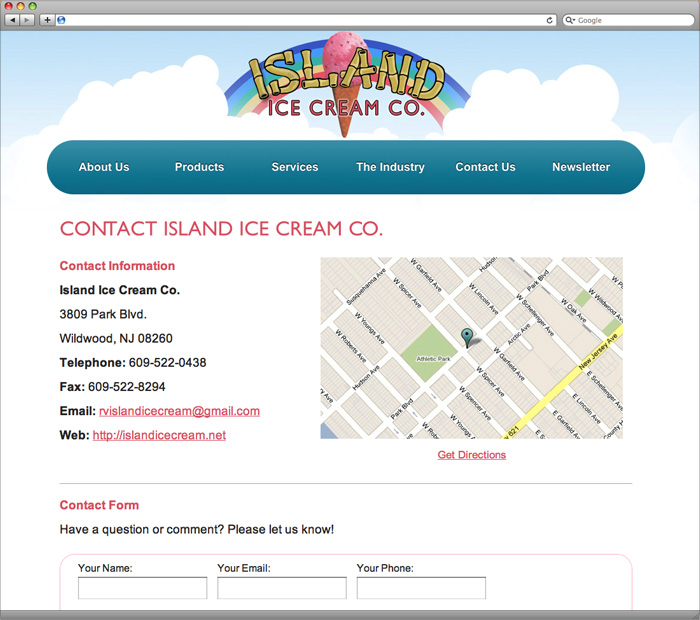 Island Ice Cream Contact Page