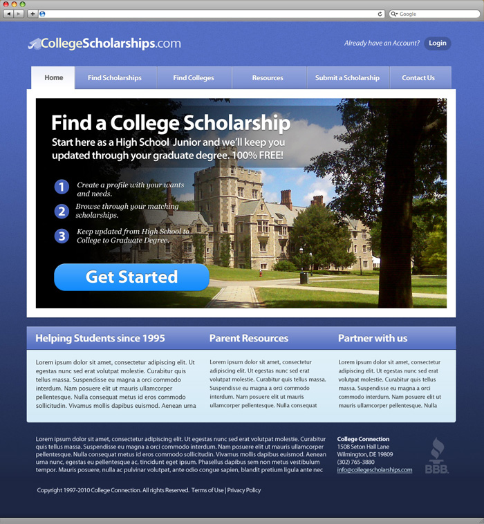 College Connection Homepage Design