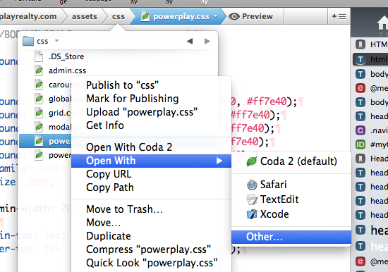 select your CSS or JS file with Coda 2