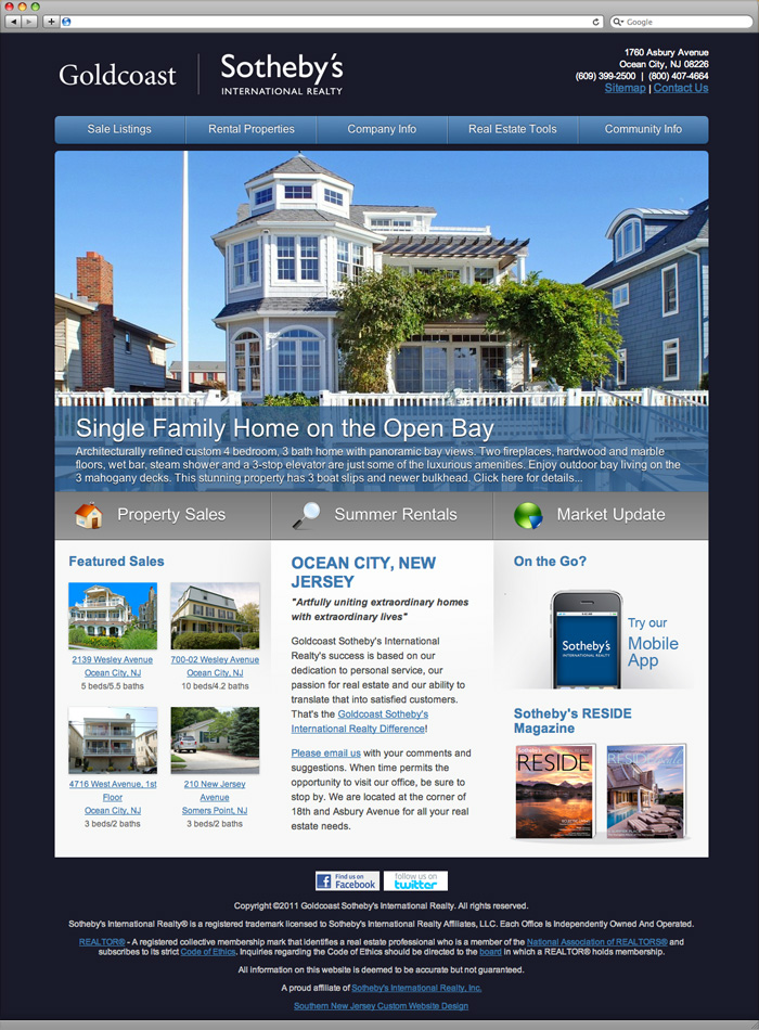 Goldcoast Sotheby's International Realty Homepage Design