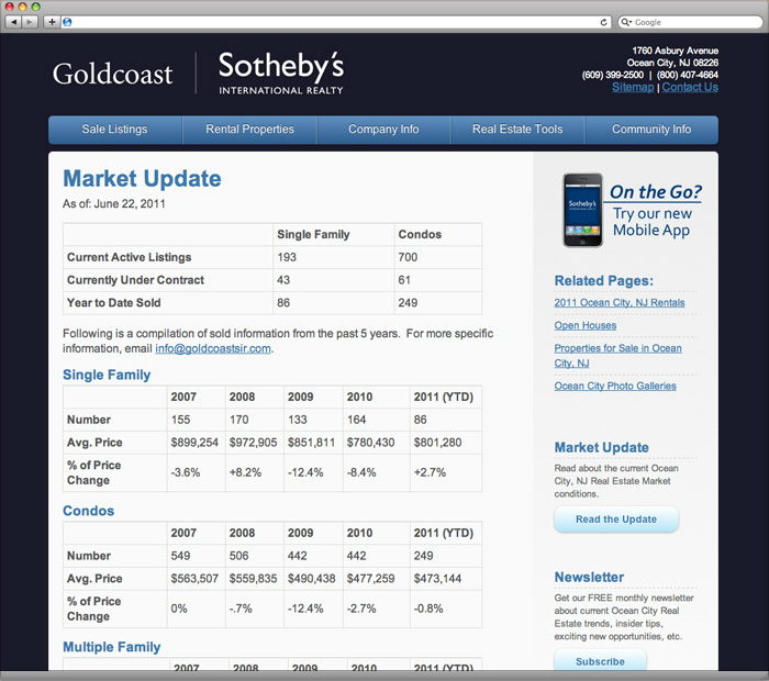 Goldcoast Sotheby's International Realty Market Report Page