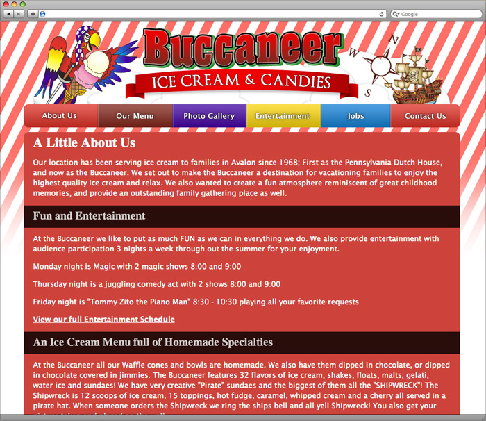 Buccaneer Ice Cream about us page.