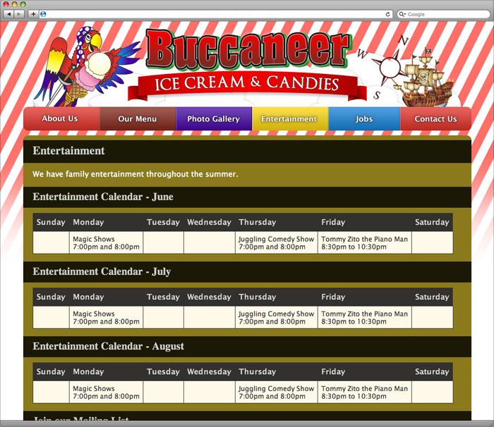 Buccaneer Ice Cream entertainment schedule page.
