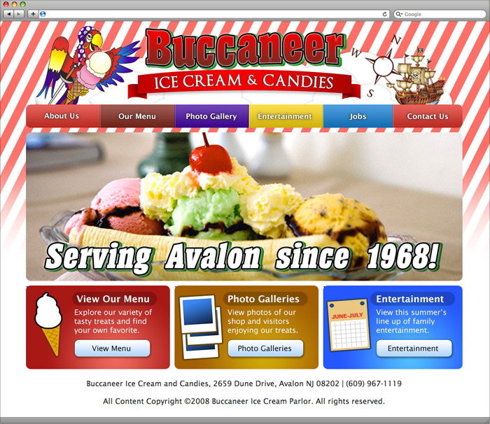 Buccaneer Ice Cream website homepage screenshot.