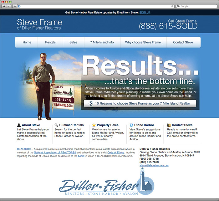 Steve Frame website homepage design.