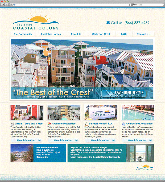 Belldon's Coastal Colors website homepage design.