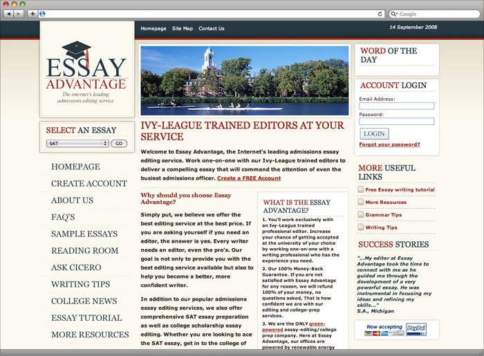 Essay Advantage website homepage design.