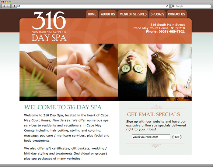 316 Day Spa website homepage design.