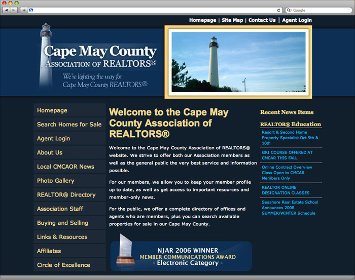 Cape May County Association of Realtors website homepage design.