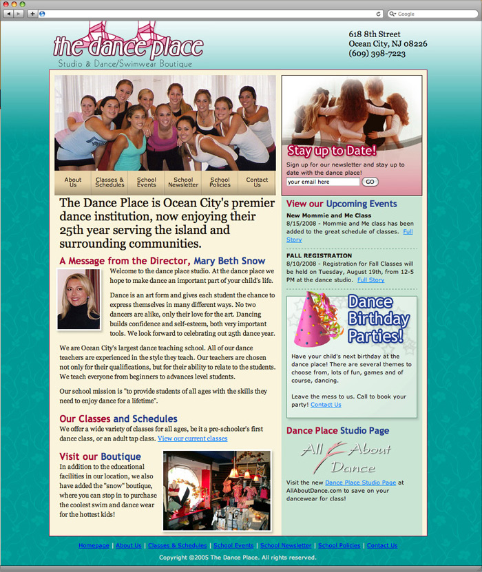 The Dance Place website homepage design.
