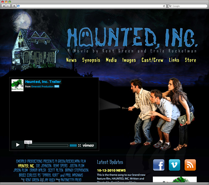 Haunted, Inc. Homepage Design