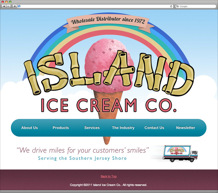 Island Ice Cream homepage design